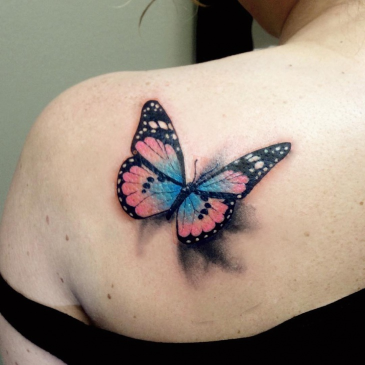 3d butterfly tattoo design for women