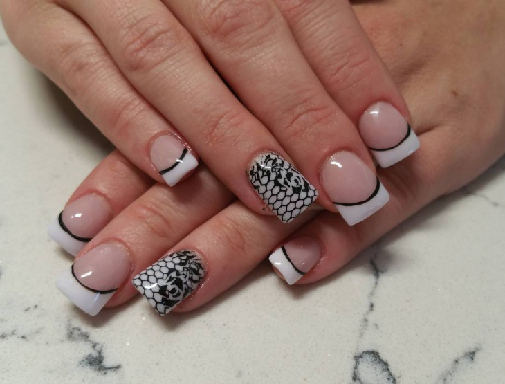 black acrylic lace nail art