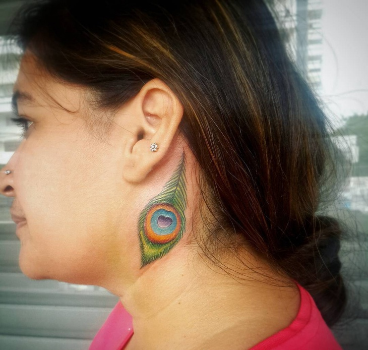 side neck tattoo design for women