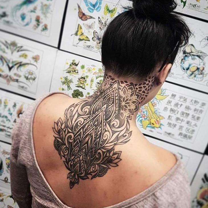 Back neck tattoo design for women