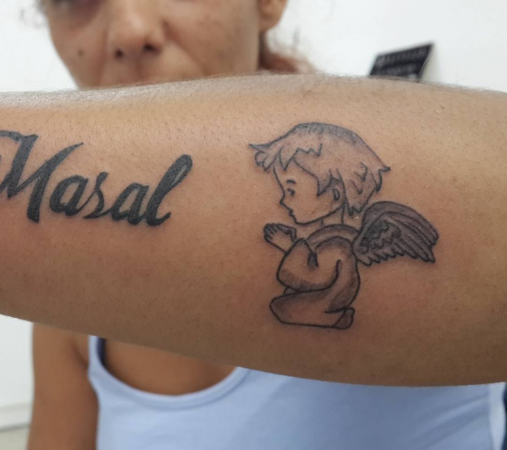 baby angel tattoo design for women