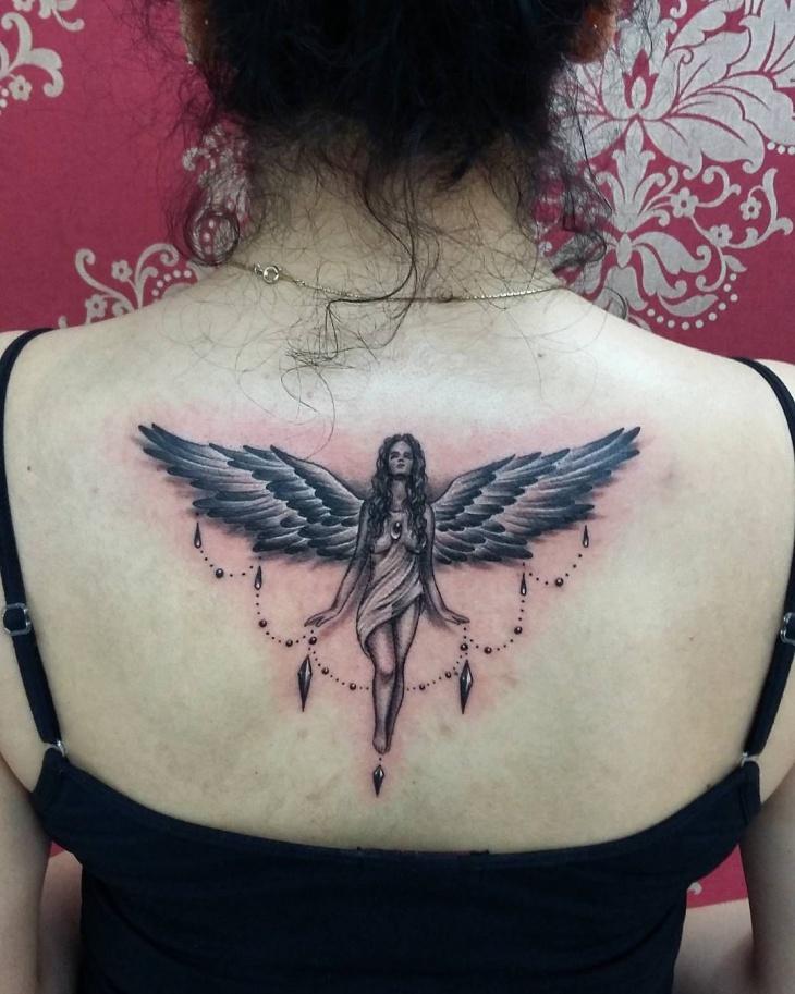 angel Back tattoo design for women