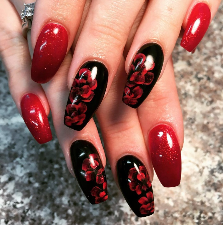 Black And Red Flower Nail Art