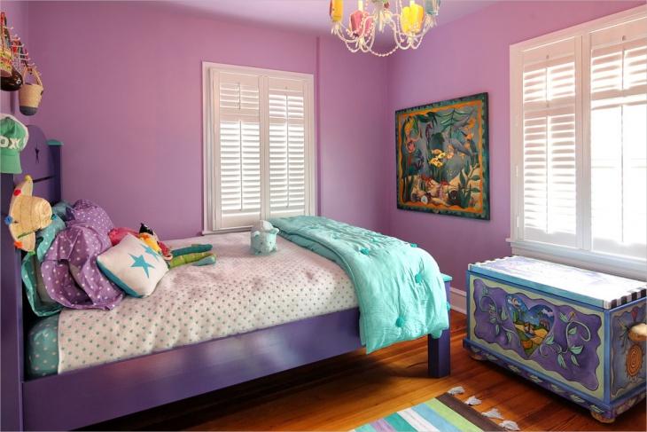 violet minimalist kids bedroom