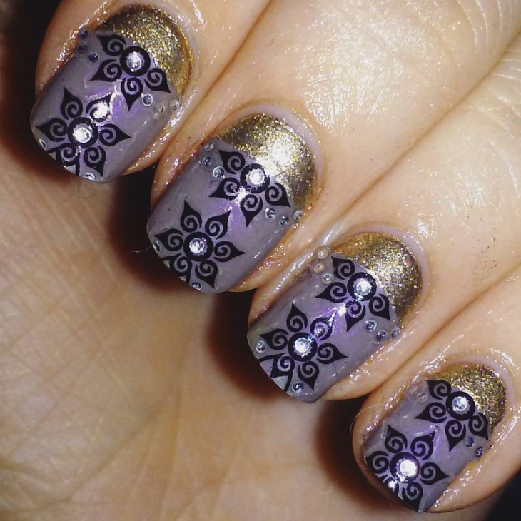 Black Flower and Glitter Nails