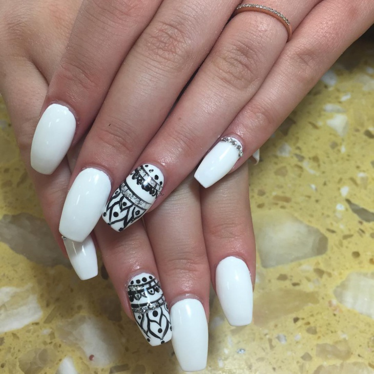 Coffin Black And White Nails