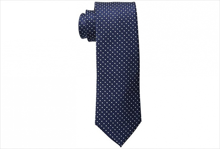 mens blue and white polka dot tie design