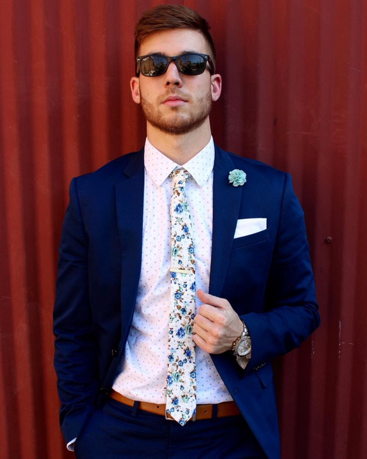 mens white floral tie design
