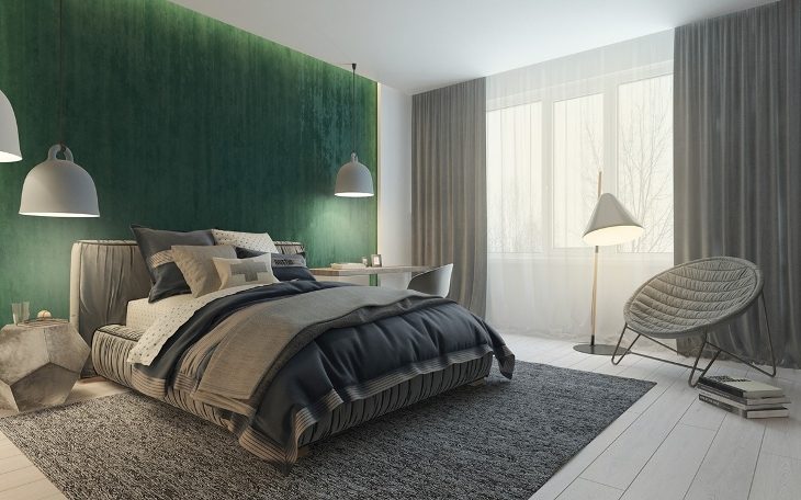 Green Wall Minimalist Bedroom Design