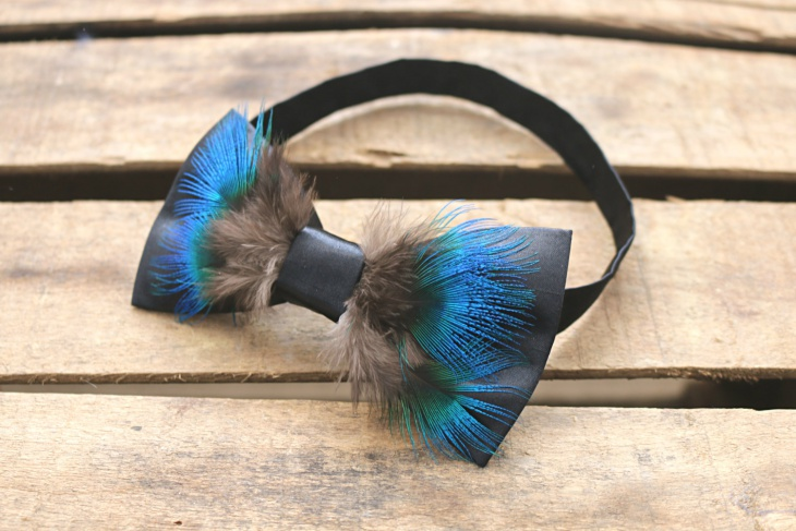 peacock feather wedding tie for men