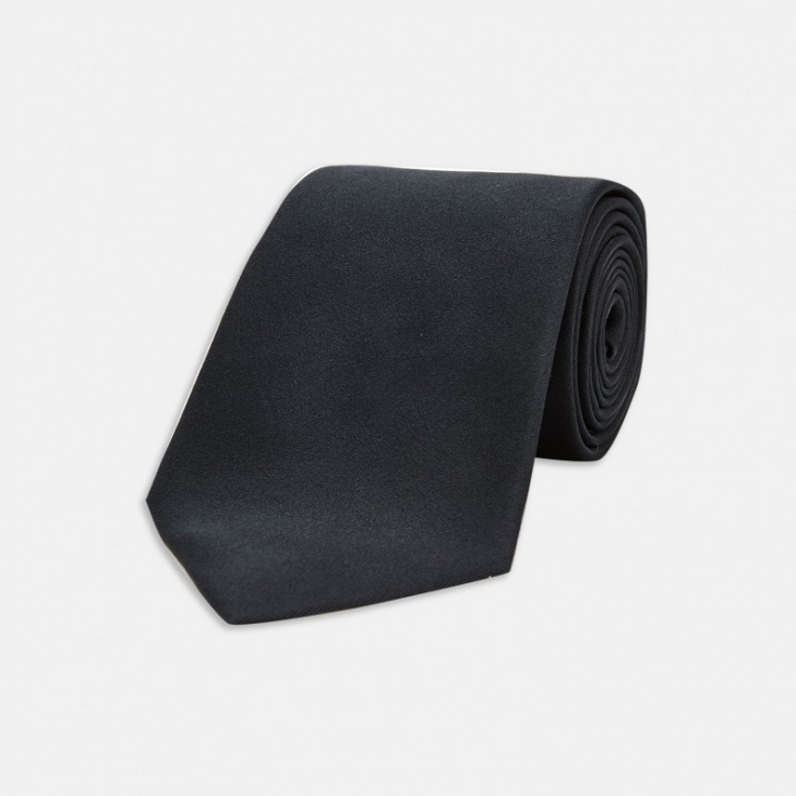 satin silk black tie for men
