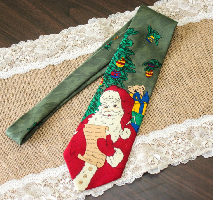 santa claus print christmas tie for men