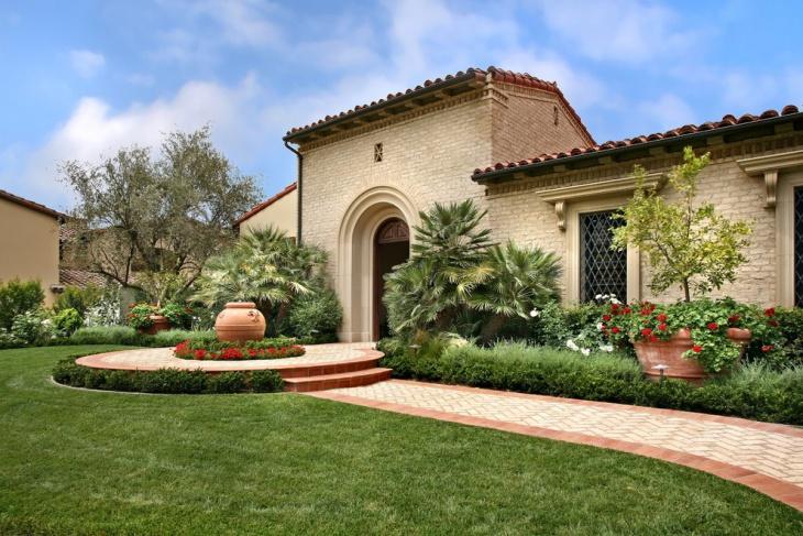 mediterranean front yard landscaping idea
