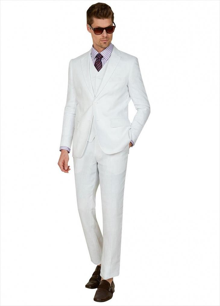 white designer linen suit for men