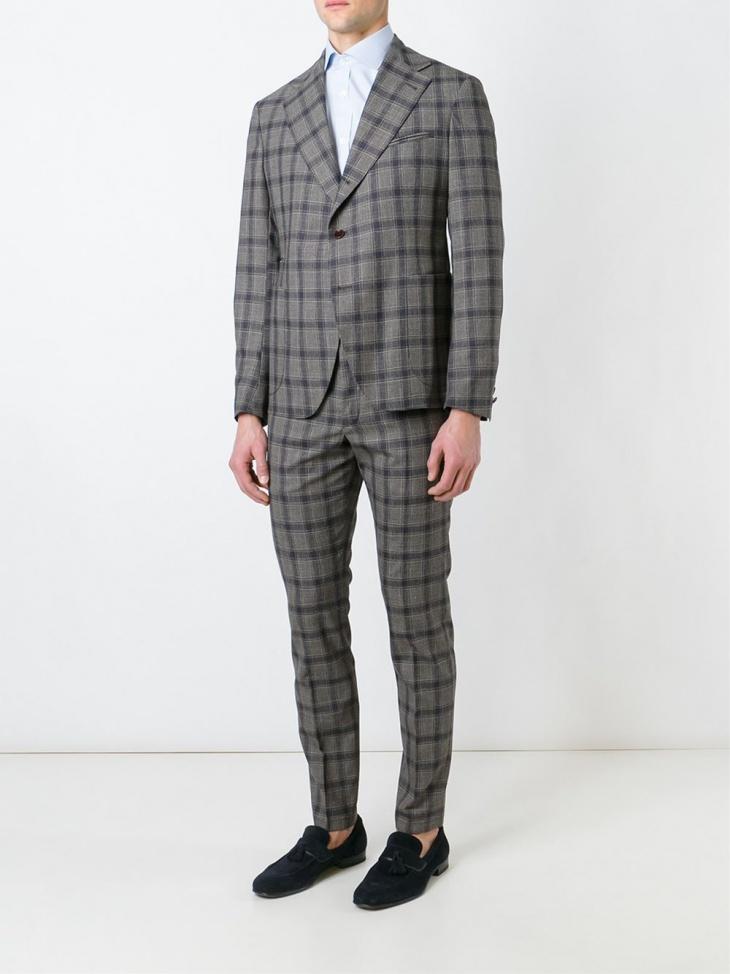 trendy men plaid suit design