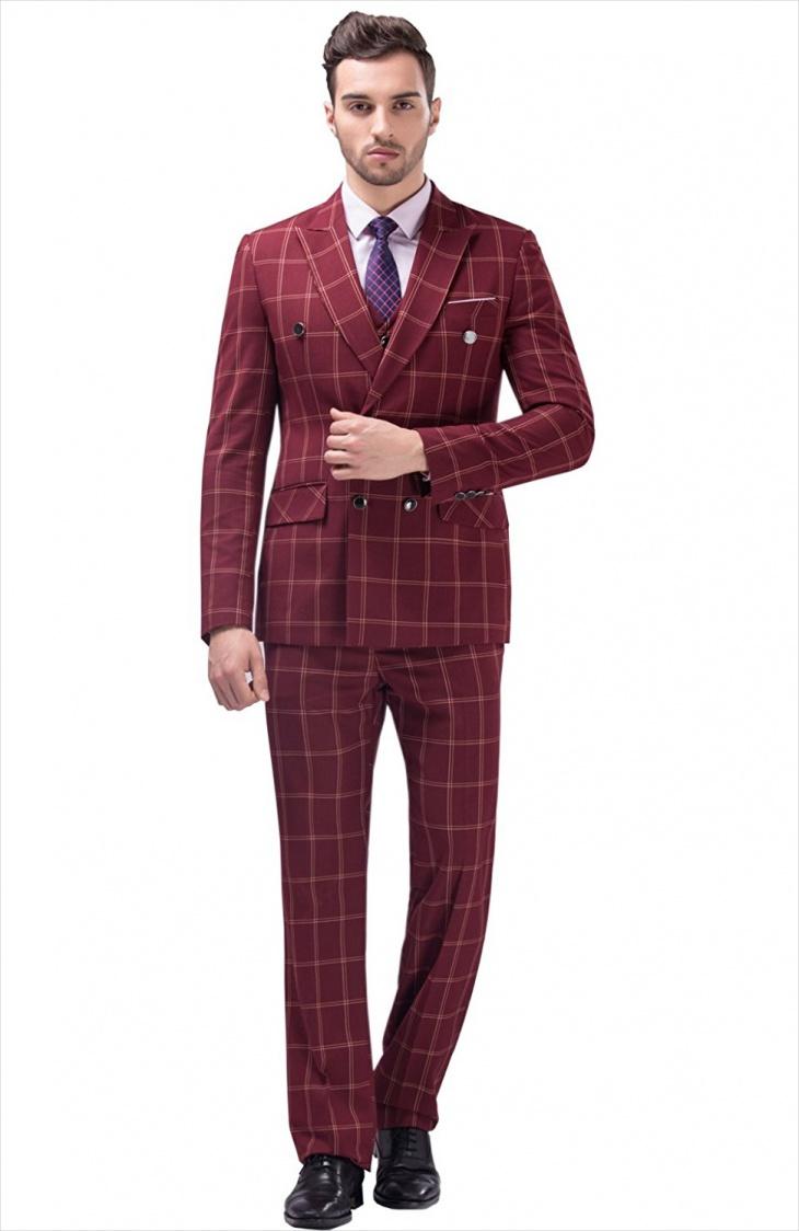 fashion men plaid suit design