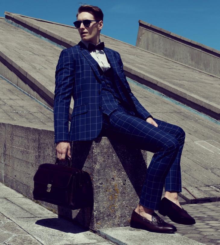 men wool blue suit design