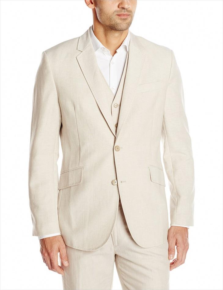 men linen blend suit design
