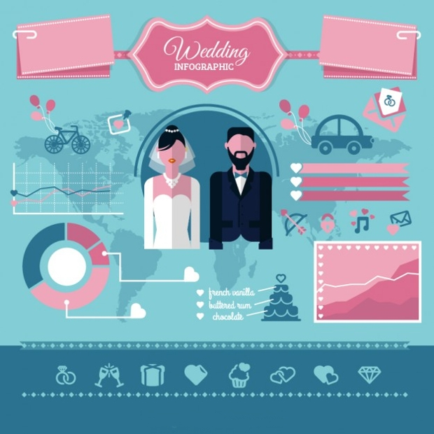 Flat Wedding Infographic Design