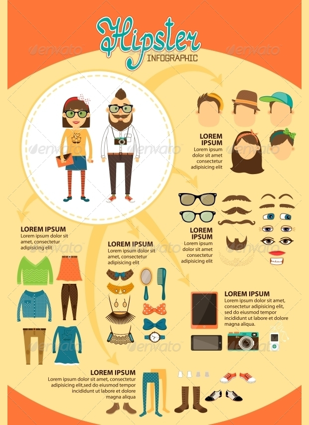 Hipster Fashion Infographic Design