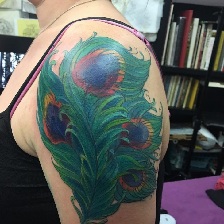 sleeve peacock feather tattoo