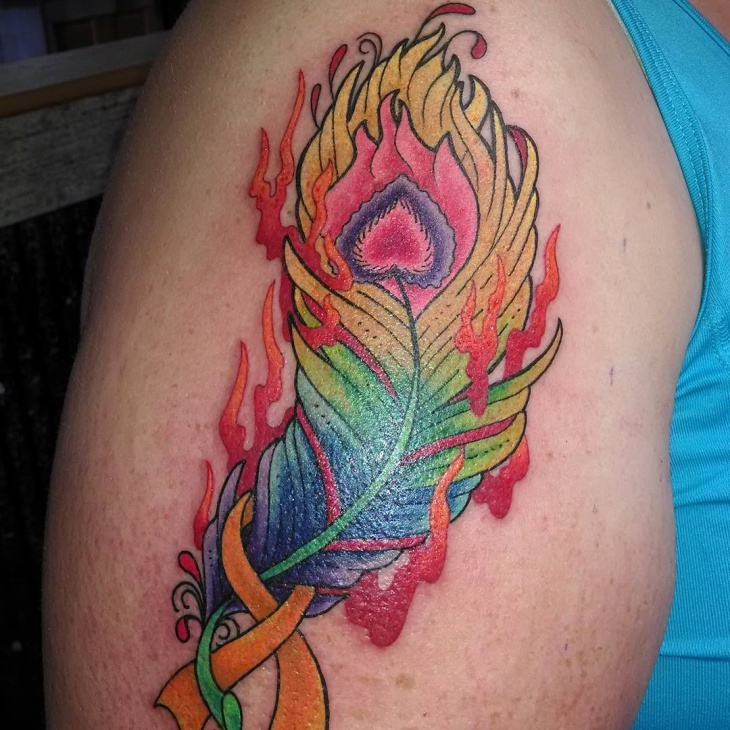 flame feather sleeve tattoo