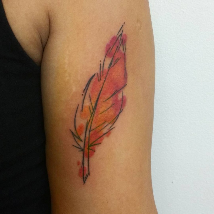 watercolor feather sleeve tattoo