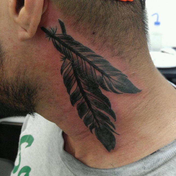 floating feather tattoo for neck