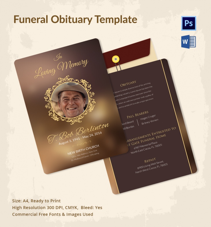 Funeral Obituary Templates  Free Word Pdf Psd Documents