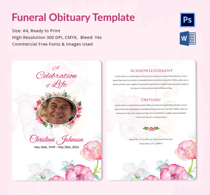 5 funeral obituary templates free word pdf psd documents