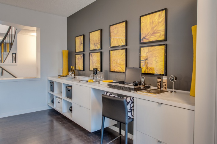 Interior Design Kitchen Gray White Yellow