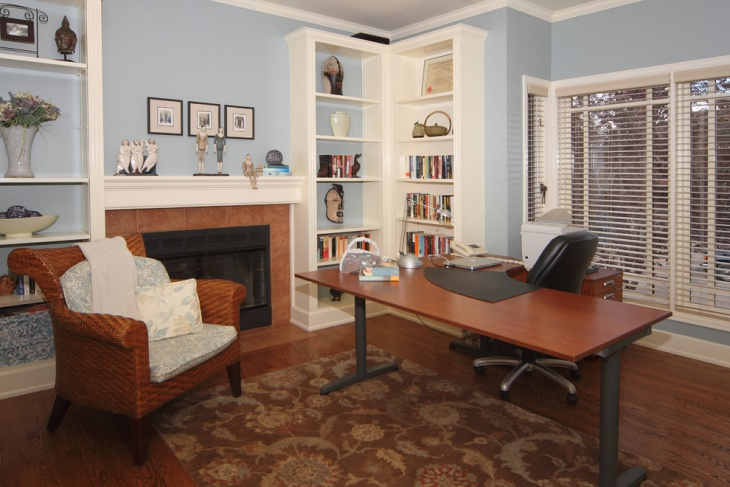 Blue Farmhouse Home Office Design