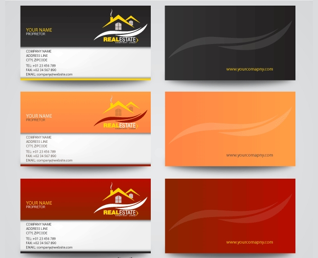Real Estates Business Cards Vector