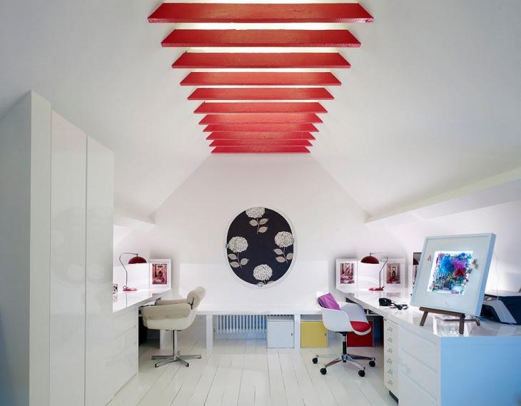 basement home office lighting idea