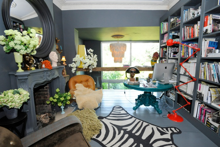 eclectic home office with bookshelves