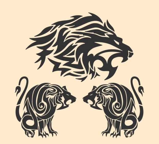 Tribal Lion Tattoo Vector Design