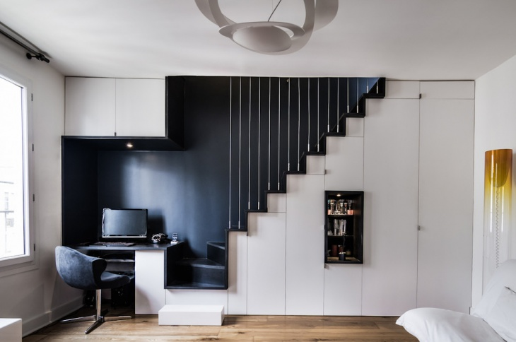 small black and white home office