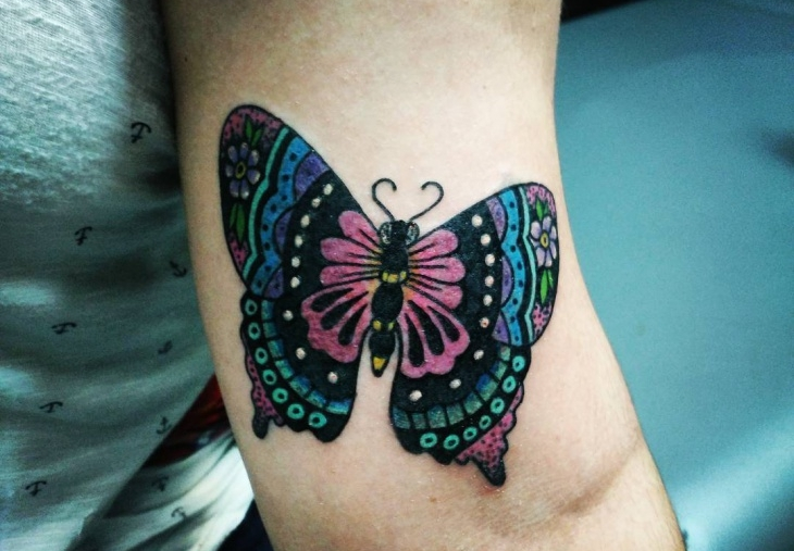 psychedelic butterfly tattoo1