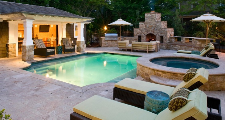 outdoor pool design with fireplace