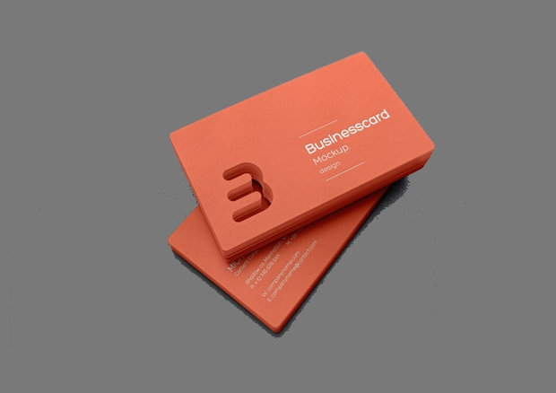 Die Cut Business Card Mockup