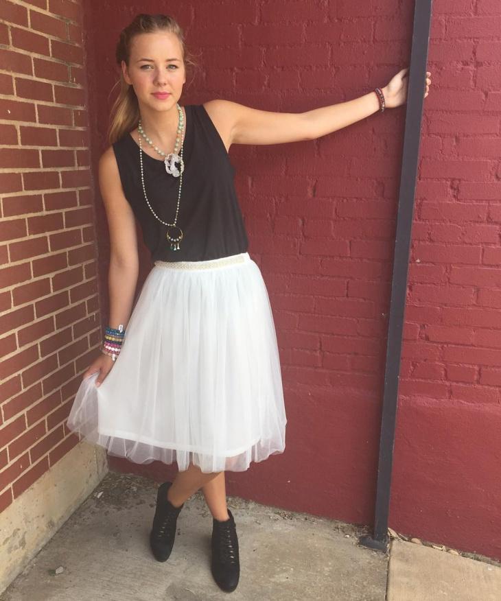 white tulle skirt design