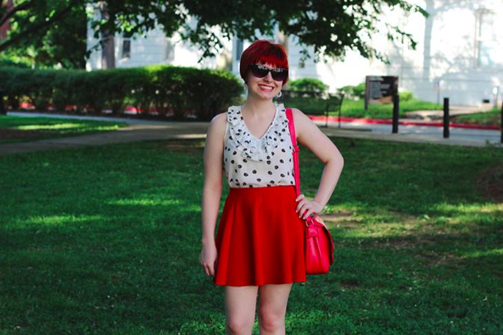 red skater skirt design