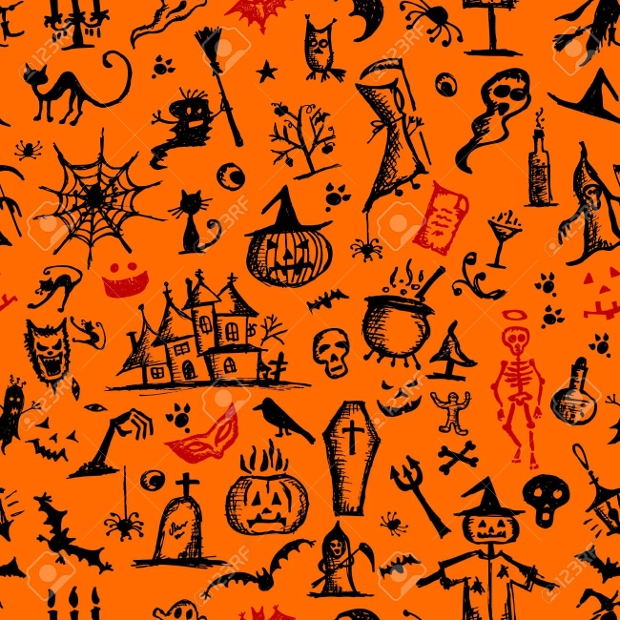 hand drawn halloween pattern design