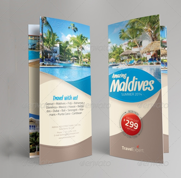 tri fold travel brochure design