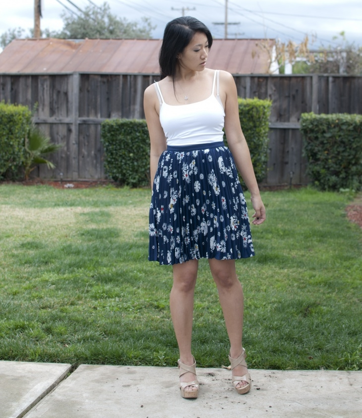 pleated floral skirt1