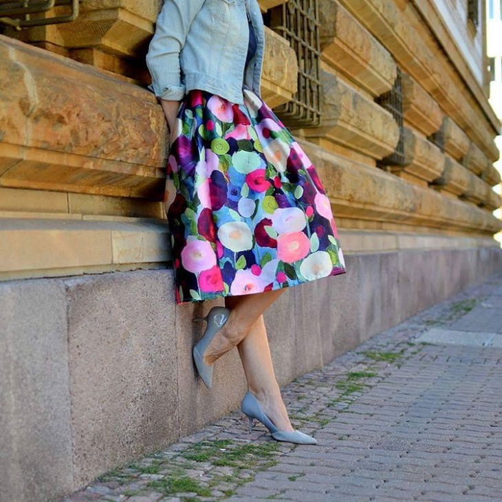 floral midi skirt design