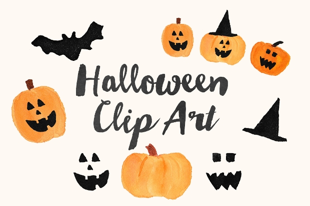 watercolor halloween clipart design