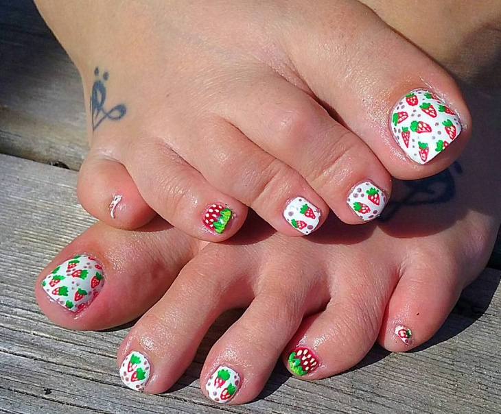 fun strawberry toe nail design