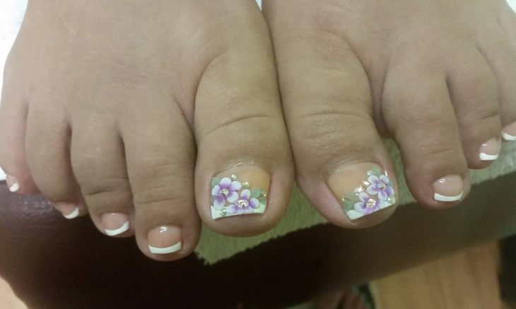 white 3D toe nail design