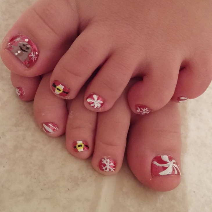 red and white christmas toe nail design